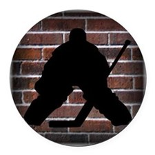 Hockie Goalie Brick Wall Round Car Magnet