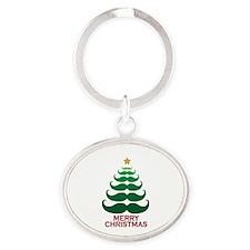 Moustache Christmas Tree Oval Keychain