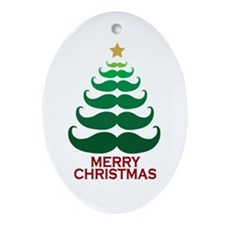 Moustache Christmas Tree Ornament (Oval)