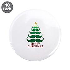 "Moustache Christmas Tree 3.5"" Button (10 pack)"