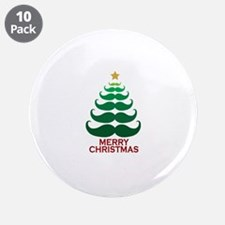 "Moustache Christmas Tree 3.5"" Button (10 pack)"