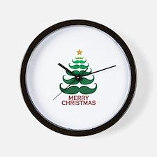 Moustache Christmas Tree Wall Clock