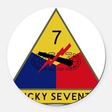 7th Armored Division - Lucky Seve Round Car Magnet