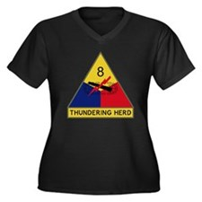 8th Armored  Women's Plus Size Dark V-Neck T-Shirt