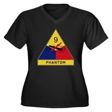 9th Armored  Women's Plus Size Dark V-Neck T-Shirt