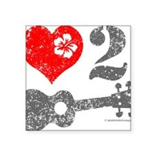 "Love 2 Ukulele Square Sticker 3"" x 3"""