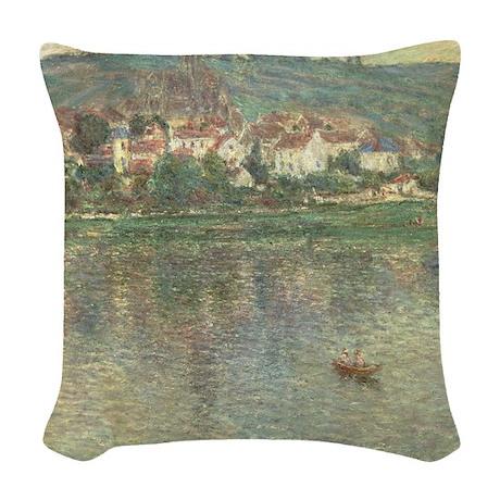 Vetheuil, by Claude Monet Woven Throw Pillow