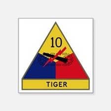"10th Armored Division - Tig Square Sticker 3"" x 3"""