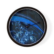 Blue Floral Mosaic (4G slider) Wall Clock