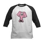 Pink Elephant Cartoon Kids Baseball Jersey