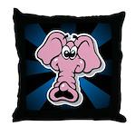 Pink Elephant Cartoon Throw Pillow
