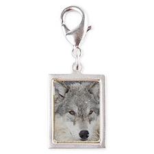 x10  Wolf Silver Portrait Charm