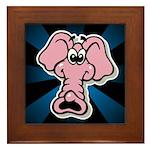 Pink Elephant Cartoon Framed Tile
