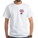 Pink Elephant Cartoon White T-Shirt