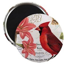 Vintage winter garden amarylis and cardinal Magnet