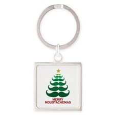 Moustachemas Christmas Tree Square Keychain
