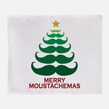 Moustachemas Christmas Tree Throw Blanket