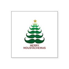 "Moustachemas Christmas Tree Square Sticker 3"" x 3"""