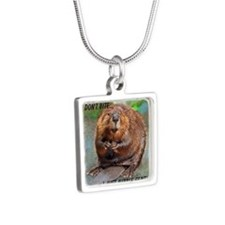 Beaver 2 bb cp Silver Square Necklace