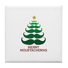 Moustachemas Christmas Tree Tile Coaster