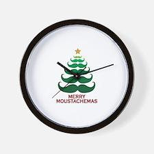 Moustachemas Christmas Tree Wall Clock