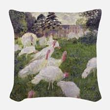 The Turkeys at the Chateau de  Woven Throw Pillow
