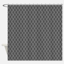 black damask on gray Shower Curtain