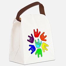 I Love You Earth Circle Rainbow.g Canvas Lunch Bag