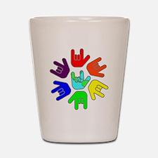I Love You Earth Circle Rainbow.gif Shot Glass
