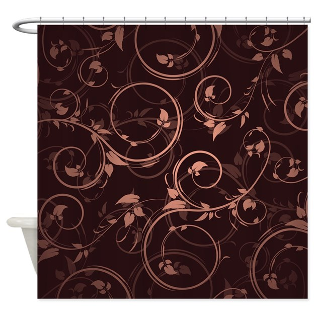 brown pink floral shower curtain by admin cp16995450. Black Bedroom Furniture Sets. Home Design Ideas