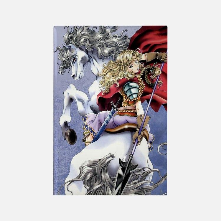 Anime Warrior on Horseback83 Rectangle Magnet