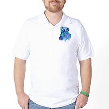 Borzoi Head in Blue T-Shirt