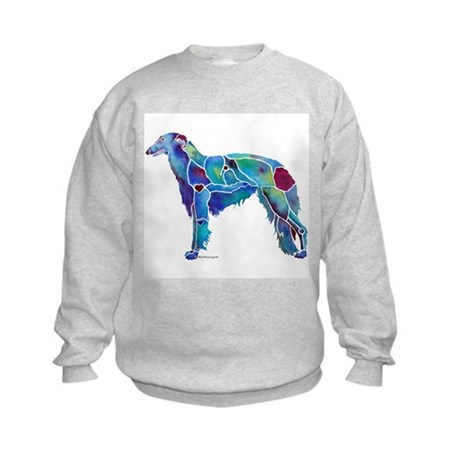 Whimzical Borzoi Emily Blue Kids Sweatshirt