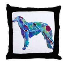 Whimzical Borzoi Emily Blue Throw Pillow