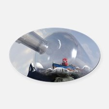 A Robot in a Bottle Oval Car Magnet