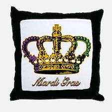 MardiGrasFCrown4tyTR Throw Pillow