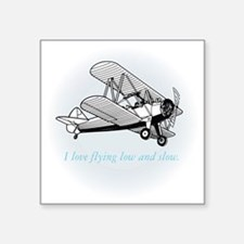 "biplane low and slow Square Sticker 3"" x 3"""
