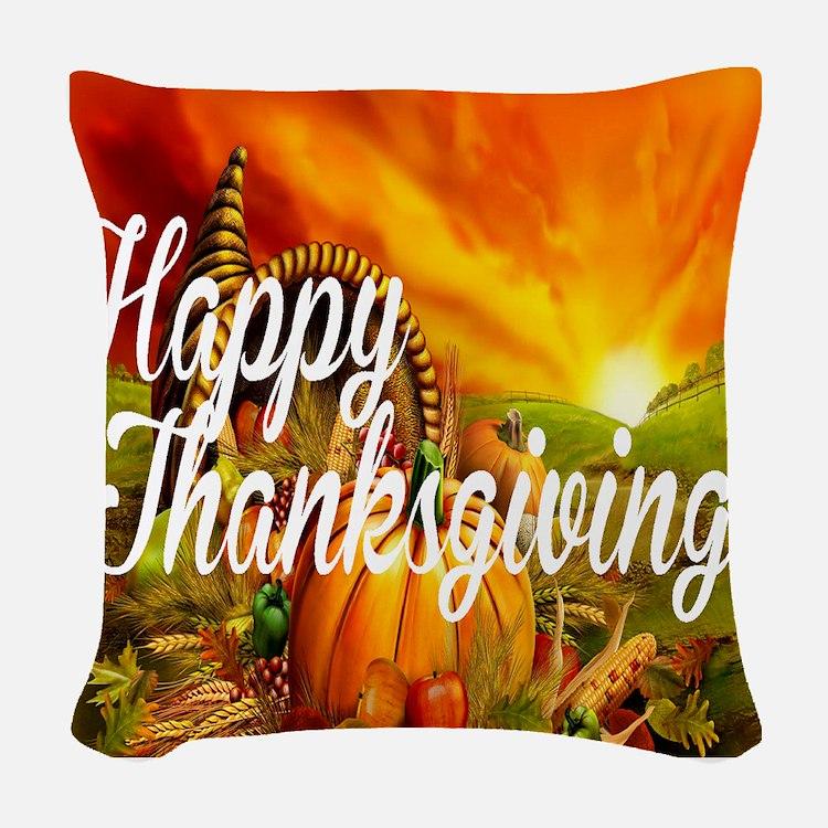 Thanksgiving Woven Throw Pillow