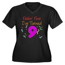 9 Years Old Women's Plus Size Dark V-Neck T-Shirt