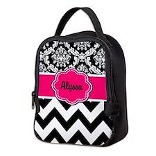 Pink Black Damask Chevron Neoprene Lunch Bag