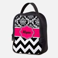 Pink Black Damask Chevron Neoprene Lunch Bag