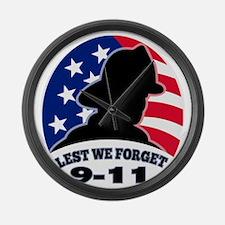 9-11 fireman firefighter american Large Wall Clock