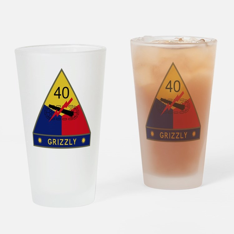 40th Armored Division - Grizzly Drinking Glass