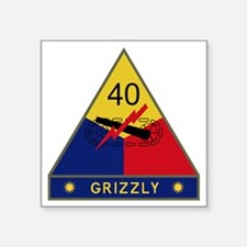 """40th Armored Division - Gri Square Sticker 3"""" x 3"""""""