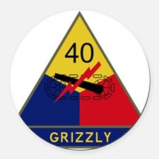 40th Armored Division - Grizzly Round Car Magnet
