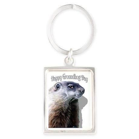 Happy Groundhog Day Portrait Keychain