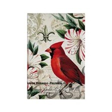 Vintage French Christmas cardinal Rectangle Magnet
