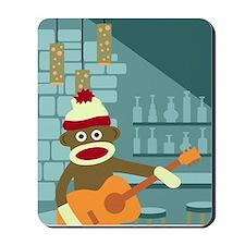 Sock Monkey Acoustic Guitar Player Mousepad