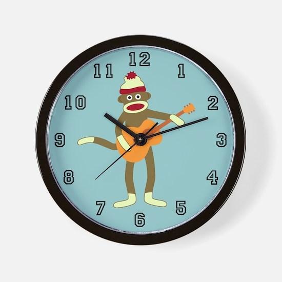 Sock Monkey Acoustic Guitar Player Wall Clock