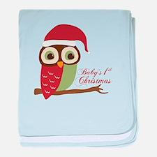 Baby's 1st Christmas Santa Owl baby blanket